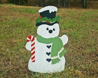 Holly Jolly Snowman Yard Sign | Holiday Yard Art