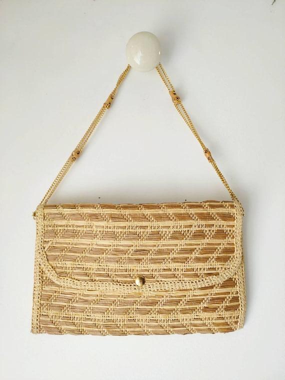 Vintage straw raffia clucth/ shoulder bag