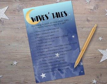Old Wives' Tales, Printable Baby Shower Games, Moon and Stars Baby Shower, Instant Download