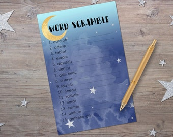 Word Scramble, Printable Baby Shower Games, Moon and Stars Baby Shower, Instant Download