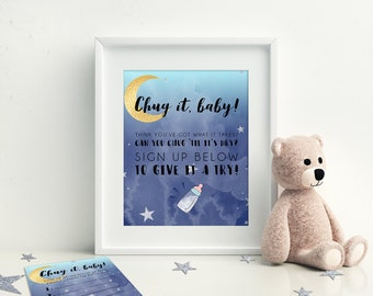 Bottle Chug Game, Printable Baby Shower Games, Moon and Stars Baby Shower, Instant Download