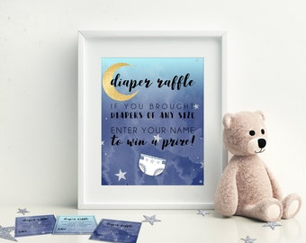 Diaper Raffle, Moon and Stars Baby Shower, Printable Baby Shower Games, Instant Download