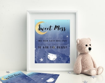 Sweet Mess, Crap Happens, Chocolate Diaper Game Printable Baby Shower Games, Moon and Stars Baby Shower, Instant Download