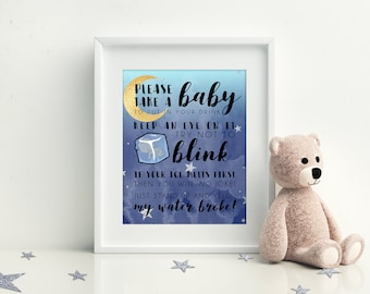 My Water Broke Ice cube Game, Printable Baby Shower Games, Moon and Stars Baby Shower, Instant Download