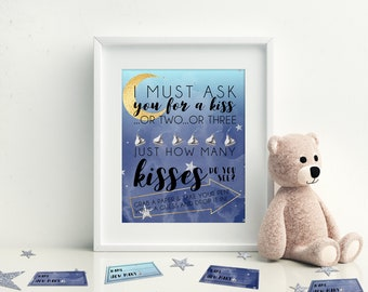 How Many Kisses, Guess the Candy, Printable Baby Shower Games, Moon and Stars Baby Shower, Instant Download