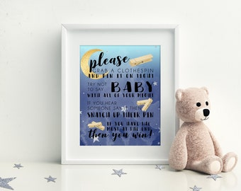 Don't Say Baby! Clothespin Game, Printable Baby Shower Games, Moon and Stars Baby Shower, Instant Download
