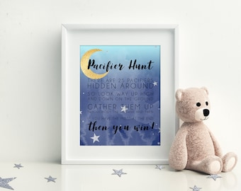 Pacifier Hunt Game, Printable Baby Shower Games, Moon and Stars Baby Shower, Instant Download