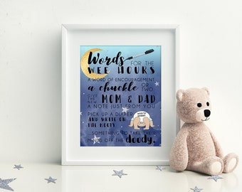 Words for The Wee Hours, Diaper Game, Printable Baby Shower Games, Moon and Stars Baby Shower, Instant Download