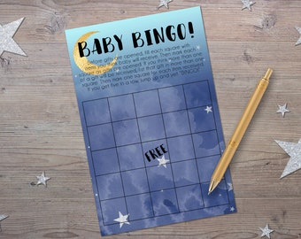 Baby Shower Bingo! Printable Baby Shower Games, Moon and Stars Baby Shower, Instant Download