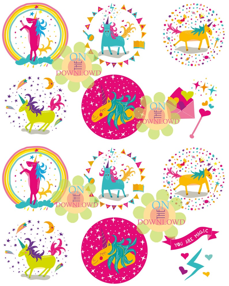 image about Printable Stickers Round identify WHIMSICAL UNICORN 2.5\