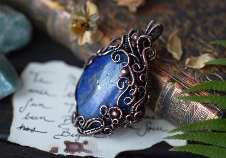 Lapis Lazuli Gemstone Pendant Crystal of Truth Healing Crystals and Stones Egyptian. Throat Chakra Brow Chakra Wire Wrapped Pendant