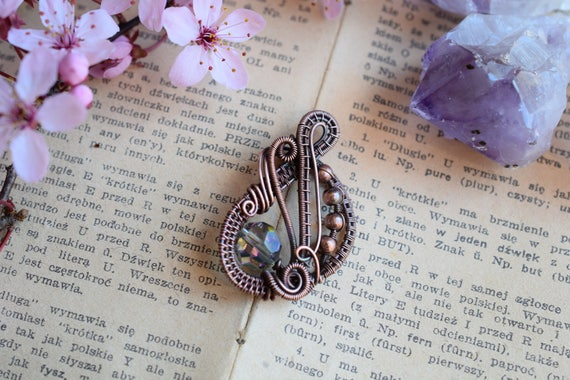 Crystal Pendant Copper Necklace Wire Wrapped Pendant Crystal Necklace Wire Weaving Boho Necklace Gifts For Her Choker