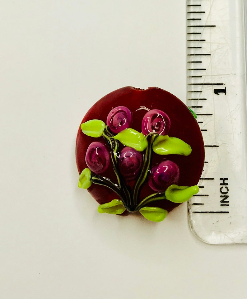 Handmade Double Sided Lampworked Glass Bead for Jewelry Making Floral Bouquet Mother/'s Day Glass Bead Flowers Pendant Raised Flowers