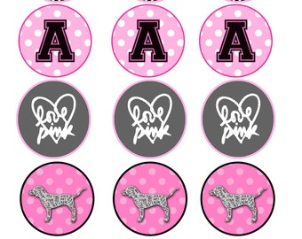 Pink/Victoria Secret themed cupcake toppers/sticker