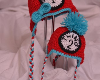 Dr. Seuss Thing One and Thing Two crochet earflap set, photo prop, available in sizes newborn to adult