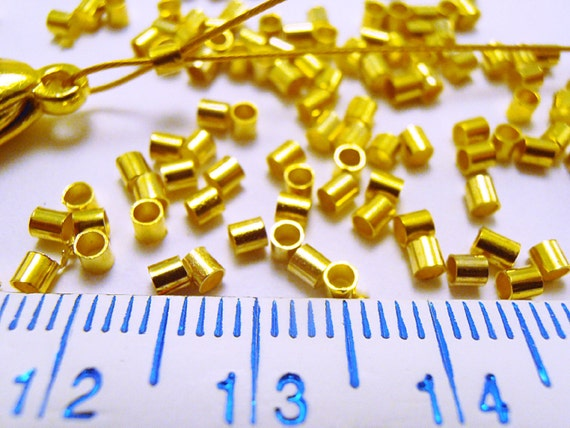 100 Gold Plated Crimp Tubes 2.5x2.5mm Crimping Beads with 1.3mm ID
