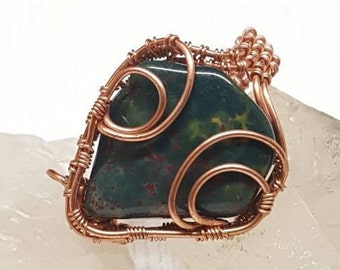Bloodstone and copper wire wrapped ring us size 10