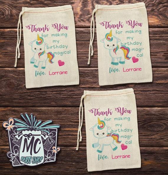 10 Personalized Unicorn Cotton Muslin Birthday Favor Bag