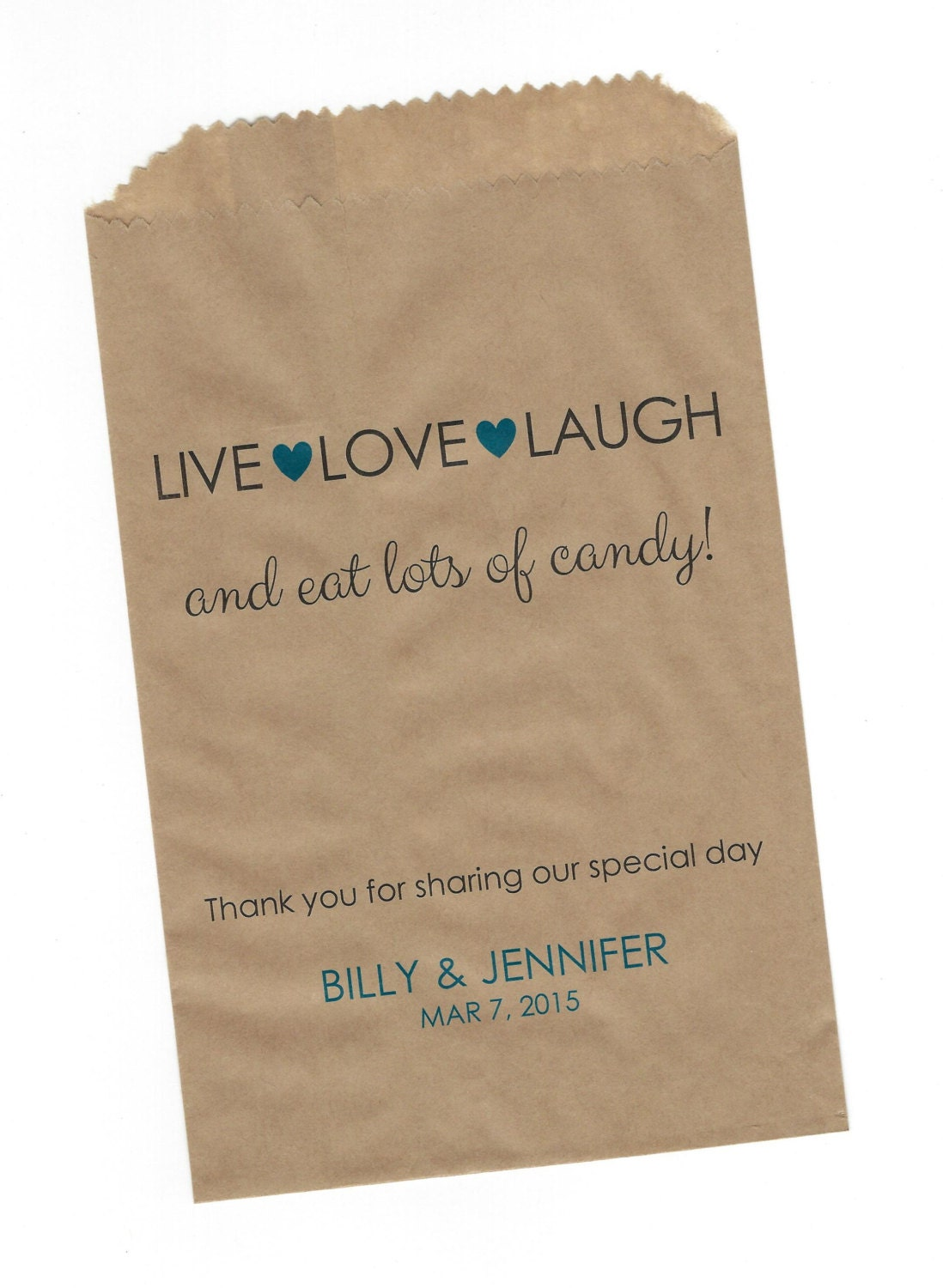 Live Love Laugh Wedding Personalized Party Favor Brown Kraft Etsy