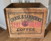 Large Antique Advertising Wood Shipping Crate Chase Sanborn 39 s Seal Brand Coffee Boston Chicago
