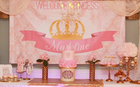 Princess Party Backdrop Pink And Gold Crown Choose Your | Etsy