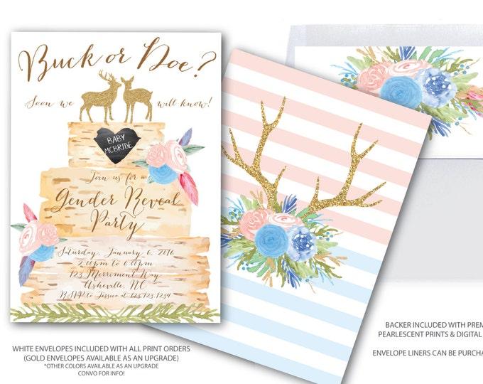 Buck or Doe Gender Reveal // Deer Gender Reveal Party / Boy or Girl / Blue and Pink / Birch / Woodland / Gold Glitter / ASHEVILLE COLLECTION