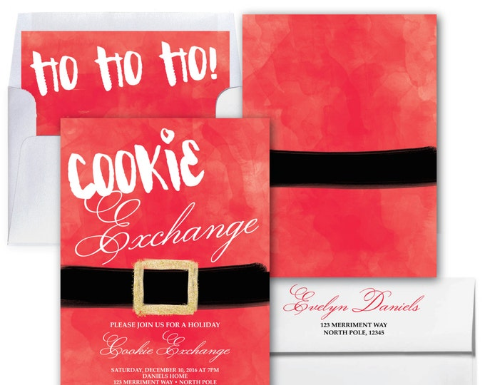 Cookie Exchange Invitation // Cookie Swap // Christmas Party Invitation // Holiday Party // Gift Exchange // Red // NORTH POLE COLLECTION