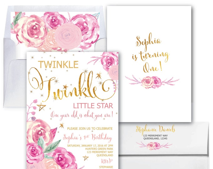 Twinkle Twinkle First Birthday Invitation // Little Star // One // Watercolor // Pink // Gold // Floral // SAVANNAH COLLECTION
