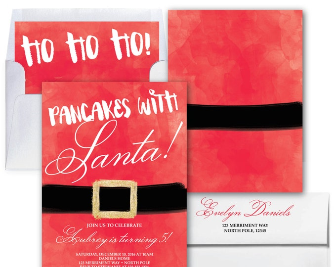 Breakfast with Santa Invitation // Pancakes with Santa Invitation // Santa Birthday Invitation // Pancakes Pajamas // NORTH POLE COLLECTION
