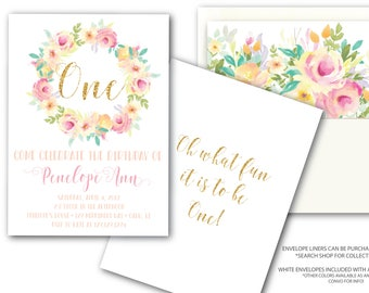 Pink and Gold Glitter Peach Mint First Birthday Invitation Pretty One Boho Watercolor Flowers Oh What Fun it is to be One / OAHU COLLECTION