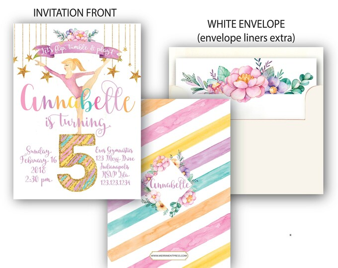 Featured listing image: Gymnastics Birthday Invitation, Gymnast Invite, Rainbow, Gold, Floral, Watercolor, Pink, Purple, Printed with Envelopes - Indianapolis