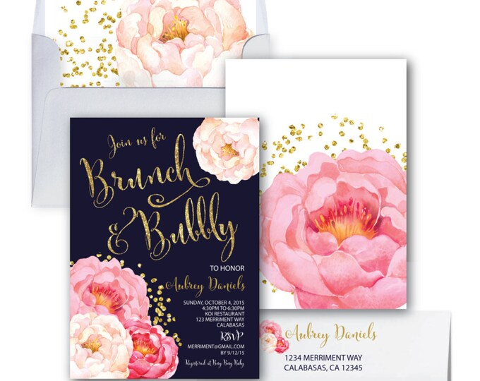 Brunch and Bubbly Invitation // Peonies // Peony// Bridal Shower Invitation //Pink//Navy//Gold Glitter // Polka Dots // CALABASAS COLLECTION