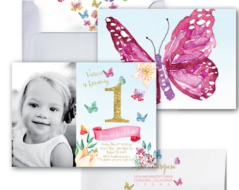 Butterfly First Birthday Photo Invitation Butterflies Gold Glitter Watercolor ONE CORDOBA COLLECTION