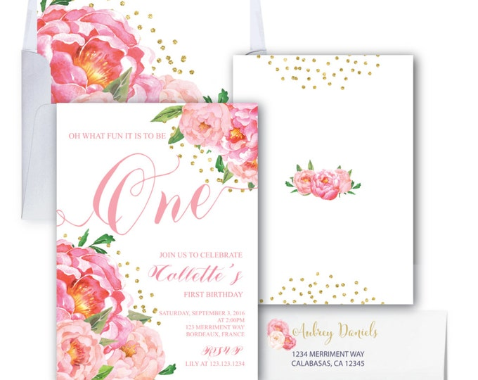 First Birthday Invitation // One // Photo // Peonies // Peony // Birthday Invitation // Pink // Gold Glitter // BORDEAUX COLLECTION