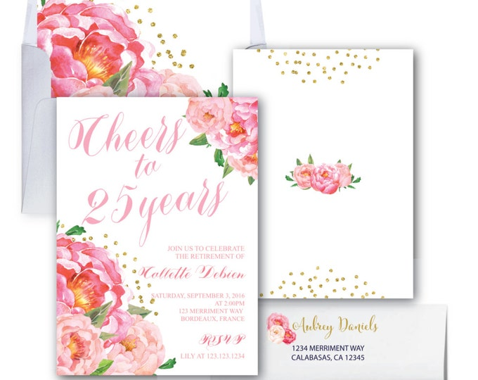 Retirement Party Invitation // Pink Floral Retirement Invitation // Peonies // Peony// Cheers // Pink // Gold Glitter // BORDEAUX COLLECTION