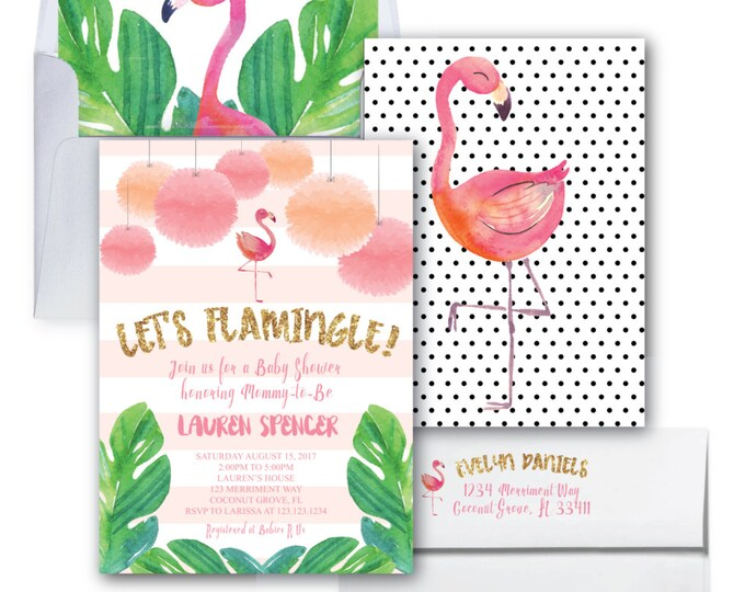 Flamingo Baby Shower Invitation // Let's Flamingle Invitation // Gold Glitter // Baby Sprinkle // Watercolor // COCONUT GROVE COLLECTION