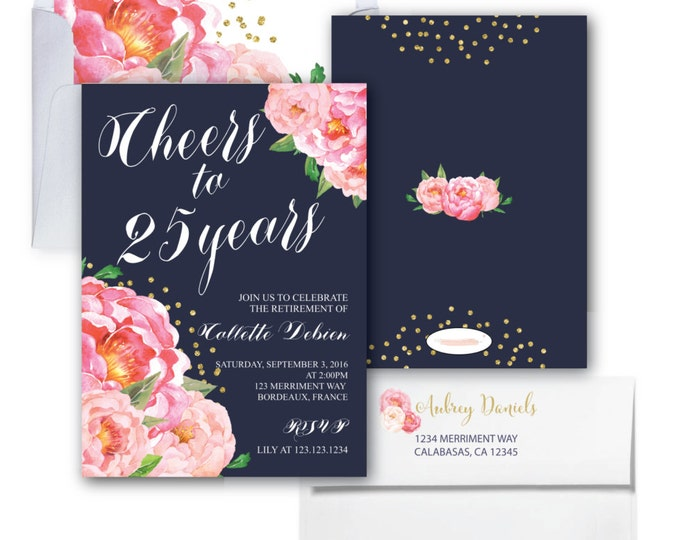 Retirement Party Invitation // Pink Floral Retirement Invitation // Peonies // Navy // Cheers // Pink // Gold Glitter // BORDEAUX COLLECTION