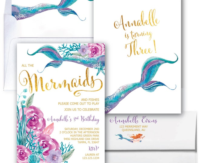 Featured listing image: Purple and Teal Mermaid Invitation, Mermaid Birthday Invitation, Under the Sea Invitation, Watercolor, Gold, Floral  - QUEENSLAND COLLECTION