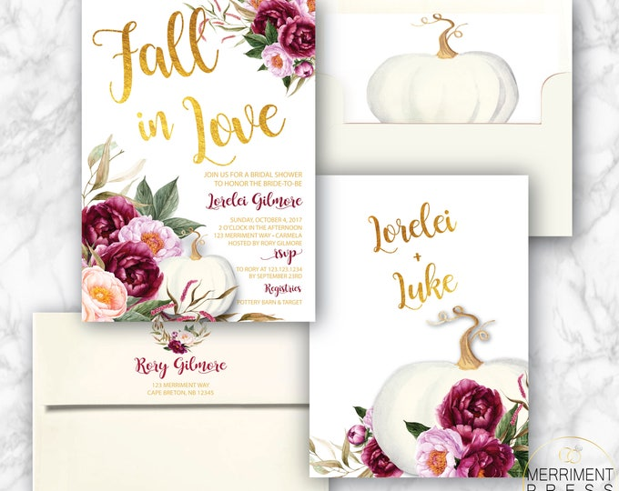 Featured listing image: Pumpkin Bridal Shower Invitation, White Pumpkin, Burgundy, Fall Bridal Shower, Fall in Love, Printed Bridal Invites with Envelopes, Carmel