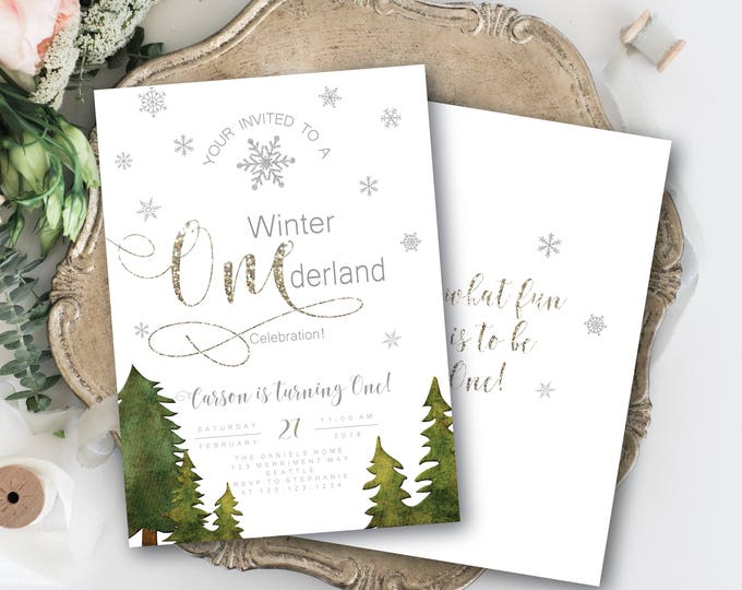 Featured listing image: Winter Onederland Invitations Boy Girl First Birthday Greenery White Silver Glitter Sparkle Bokeh Invitation Snowflakes - SEATTLE COLLECTION