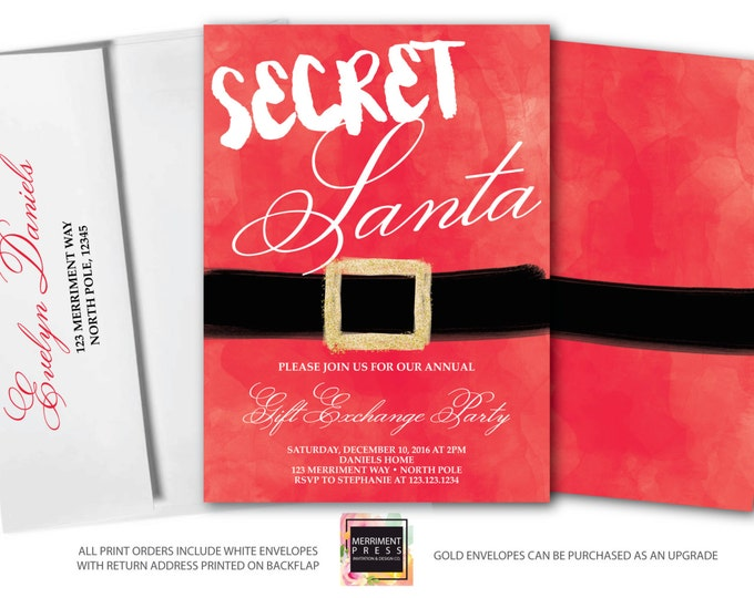 Featured listing image: Secret Santa Invitation // Christmas Party Invitation // Holiday Party Invitation // Gift Exchange // Red // NORTH POLE COLLECTION