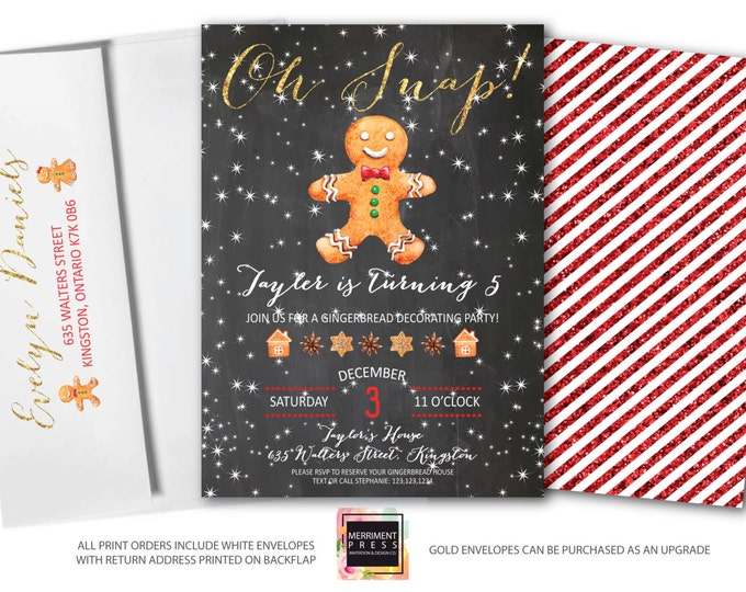 Featured listing image: Gingerbread Birthday Invitation, Gingerbread Man Invite, Christmas Boy Birthday, Oh Snap, Gold, Glitter, Snow, Cookie, Chalkboard - KINGSTON