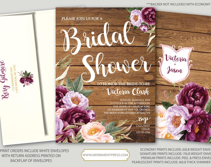Featured listing image: Burgundy Floral Bridal Shower Invitation / Rustic Wood / Wedding Shower / Watercolor / Purple / Pink / Flowers / Wine / FLORENCE COLLECTION