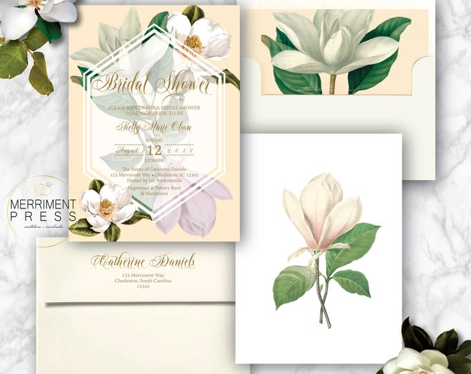 Featured listing image: Magnolia Bridal Shower Invitation / Magnolias / Botanical / Cream / Greenery / Southern Bridal Shower / CHARLESTON COLLECTION