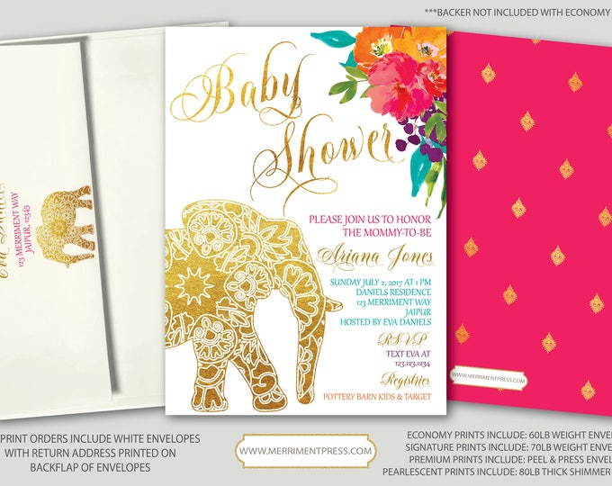 Featured listing image: Indian themed  Baby Shower Invitation // Bollywood // Elephant // Paisley // Gold // Floral // Pink // Orange / Purple / JAIPUR COLLECTION