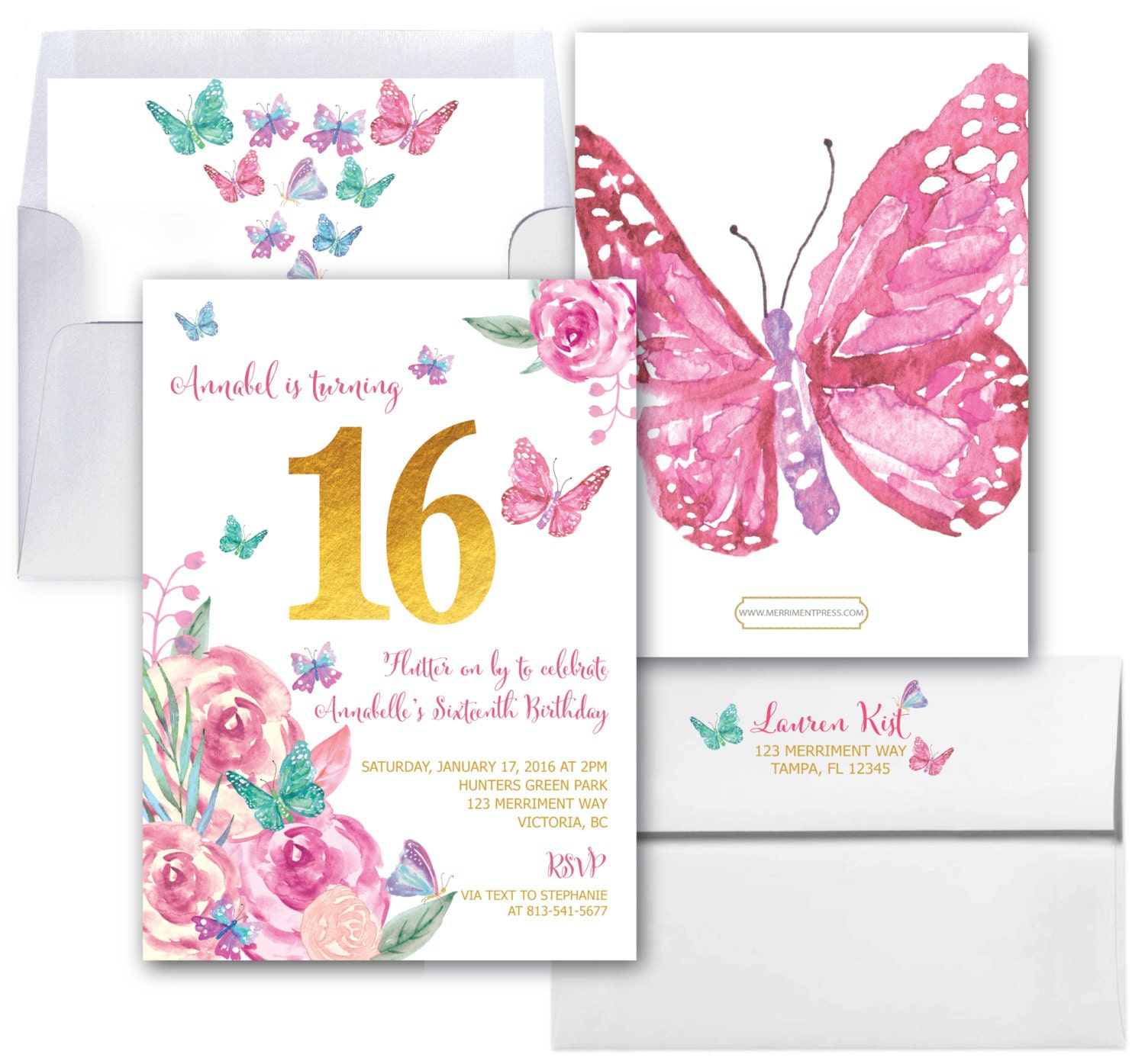 Butterfly Sweet Sixteen Invitation Birthday Invite 16 Butterflies Pink Gold Purple Floral Watercolor Printed