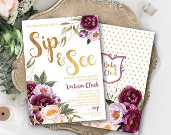 Burgundy Floral Sip and See Invitation Elegant Purple Peach Rustic Watercolor Sip and See Baby Girl Baby Boy Crest Gold FLORENCE COLLECTION
