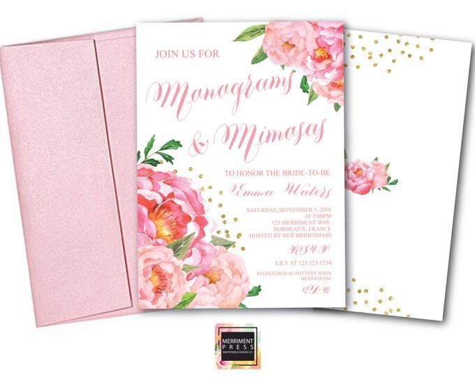 Monograms & Mimosas Invitation // Monogram Bridal Shower // Peonies // Peony// Bridal Invite // Pink // Gold Glitter // BORDEAUX COLLECTION