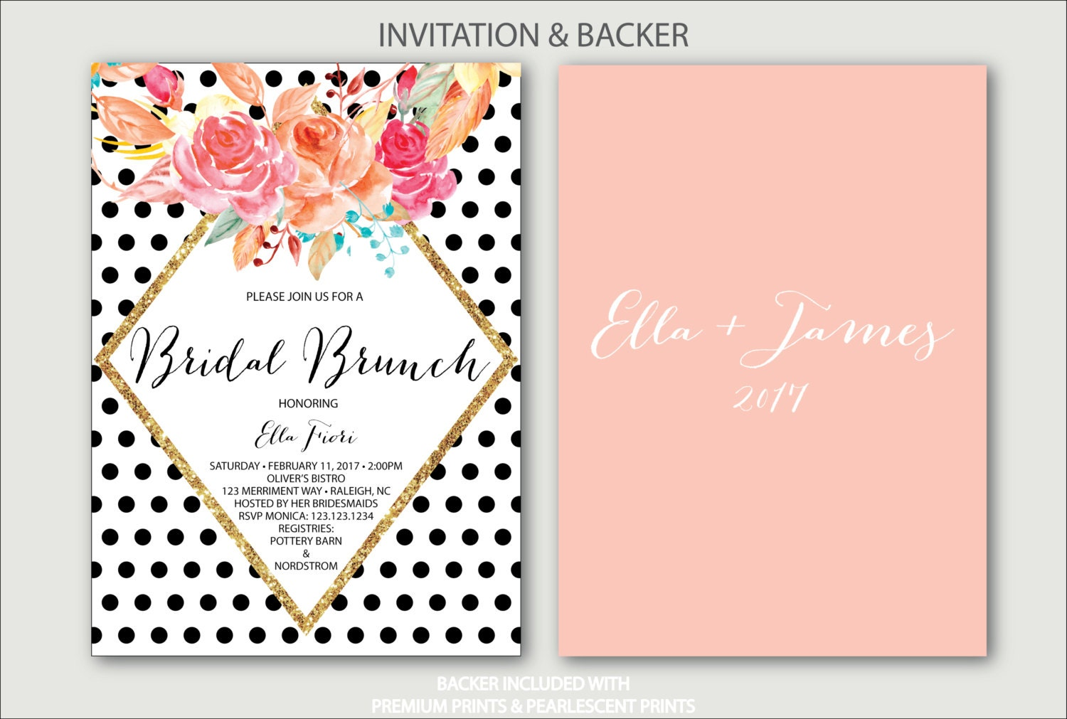 Black polka dot bridal shower invitation brunch with the bride black polka dot bridal shower invitation brunch with the bride black and white blush pink gold bubbly raleigh collection filmwisefo