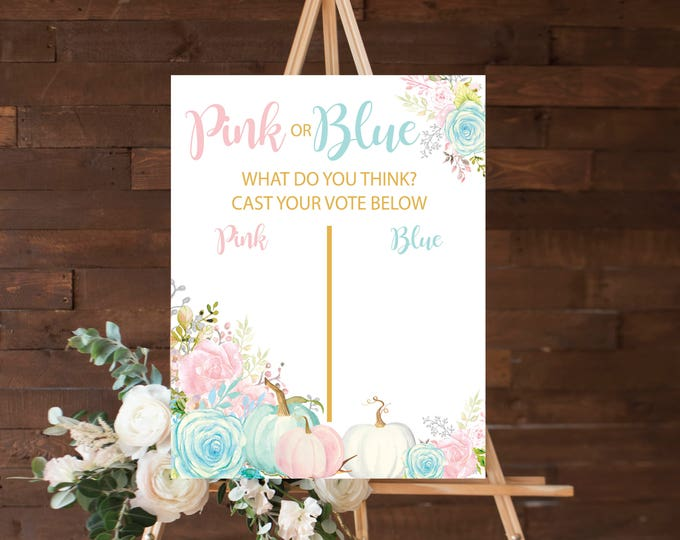 "Guess the Gender 16x20"" //Gender Reveal // Peonies // Blue or Pink // Floral // Instand Download // Made to Match our CARMEL COLLECTION"